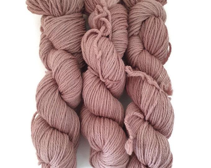 plant dyed organic merino wool, thick, pink, 100g strand, Rosy Big - Soft Rose -