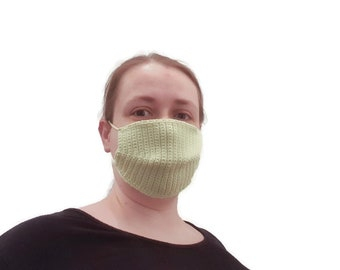 Mouthguard/ makeshift mask with bag for filters, ladies, crocheted from Ökotex100 certified cotton in green