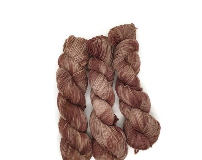 Plant Dyed GOTS- Certified Organic Manx - Merino Wool, 50g strand, plum red to light purple, beige