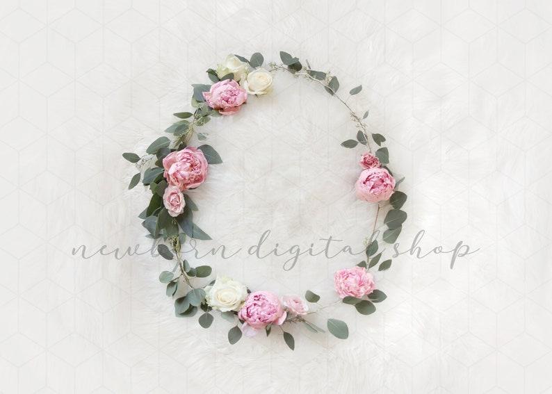 Newborn digital backdrop for girls Floral Wreath on white fur