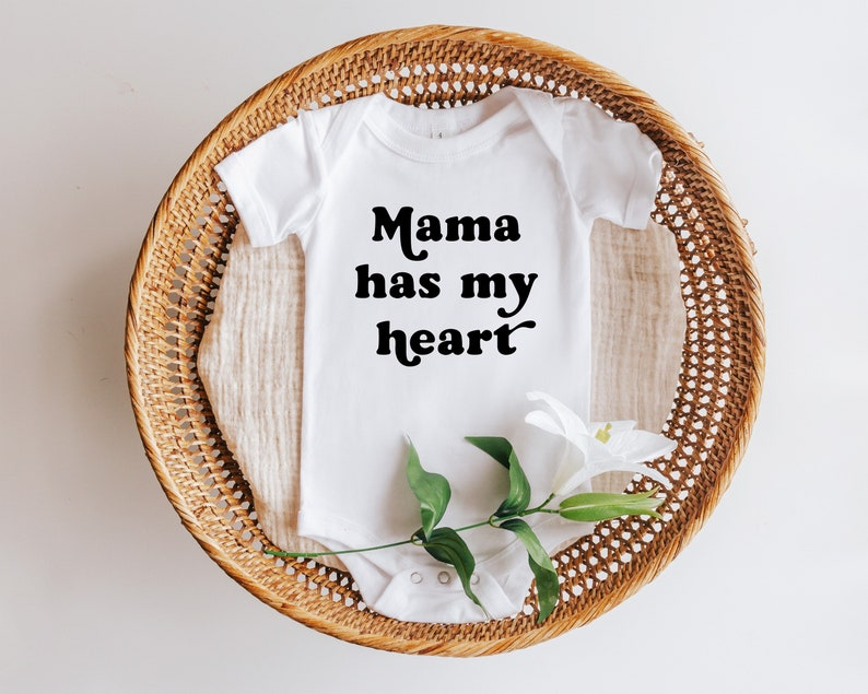 Baby Outfit Mama Has My Heart Mother\u2019s Day Baby Onesie\u00ae Retro Baby Shower Gift Mothers Day Onesie\u00ae