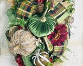 Thanksgiving wreath swag, fall wreath swag,pumpkin wreath swag,Velvet pumpkin swag,fall thanksgiving swag,Thanksgiving wreath for front door