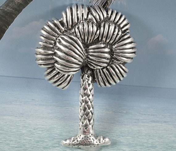 Pendants Beach and Sea Life Charms .925 Sterling Silver Antiqued Palm Tree Charm Pendant