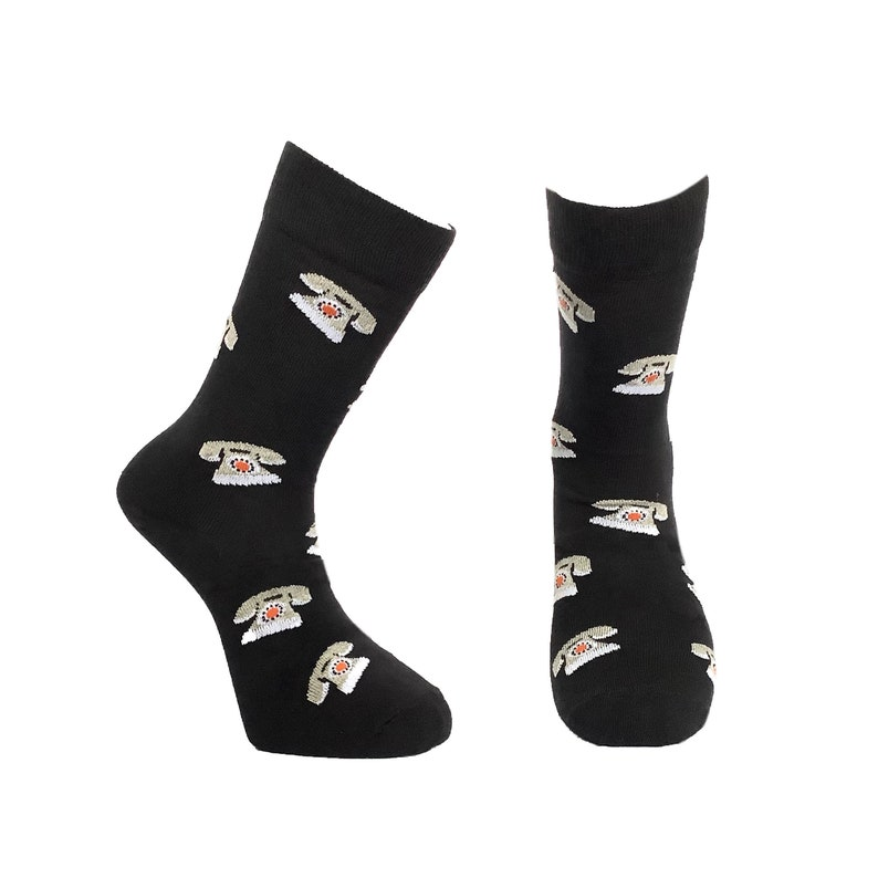 Fathers Day Gift Vintage Phone Men Socks Premium Cotton Rich Novelty Patterned Funky Cool Fun Socks Rotary Phone