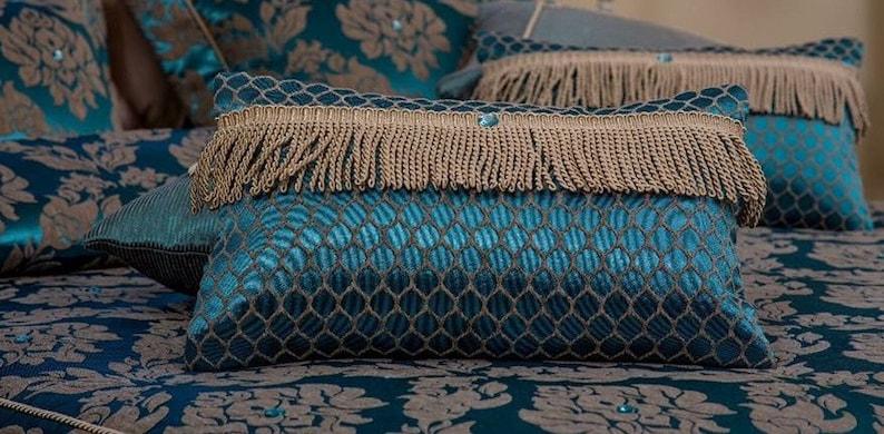 Jacquard Pillow Cover Cushion Damask-Geometric trim for living room custom size pillow cover,Wedding Gift.OEKO-TEX\u00ae certified fabric