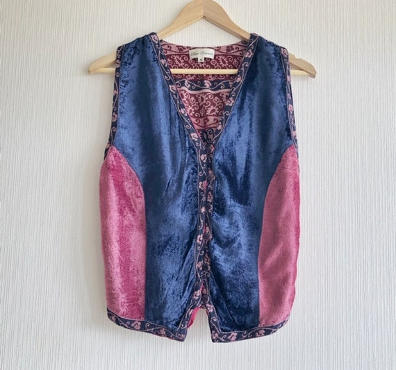 Vintage Blue Red Patterned Vest Hippie Style Velve