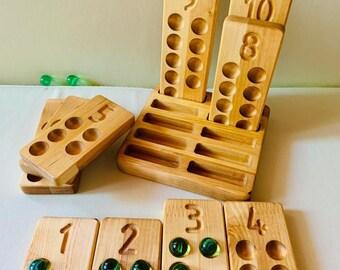 Wooden Counting Tray - Homeschool Math - Preschool Numbers - Wooden Toys - Kids - School - Wood Numbers - Back to School