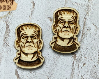 Finished Wood Frankenstein's Monster Post Earrings - Laser-Cut Horror Icon Jewelry Collection
