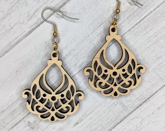 Finished Wood Art Nouveau Filigree Earrings - Custom Laser-Cut Jewelry Collection