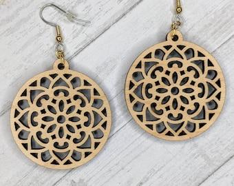 Finished Wood Round Filigree Mandala Earrings - Custom Laser-Cut Jewelry Collection