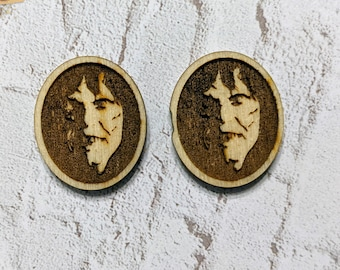 Finished Wood Exorcist Post Earrings - Laser-Cut Horror Icon Jewelry Collection
