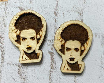 Finished Wood Bride of Frankenstein Post Earrings - Laser-Cut Horror Icon Jewelry Collection