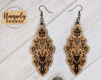 Finished Wood Foolish Mortals Earrings - Custom Laser-Cut Jewelry Collection