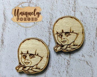 Finished Wood Annabelle Post Earrings - Laser-Cut Horror Icon Jewelry Collection