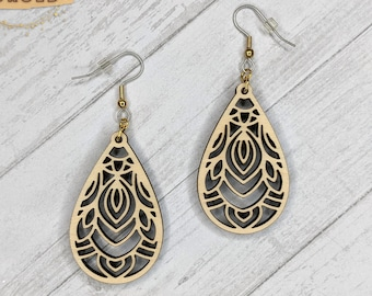 Finished Wood Art Deco Filigree Earrings - Custom Laser-Cut Jewelry Collection