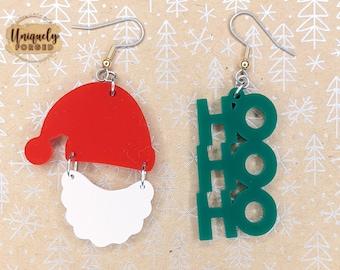 "Finished Acrylic ""Ho Ho Ho"" Santa Earrings - Custom Laser-Cut Jewelry Collection"