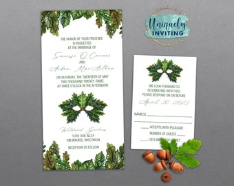 Oak Green Man Invitations
