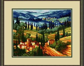 Landscape Cross Stitch Hand Embroidery Kit with Pattern Small crossstitch kit. Limited edition Cross Stitch Gift Idea