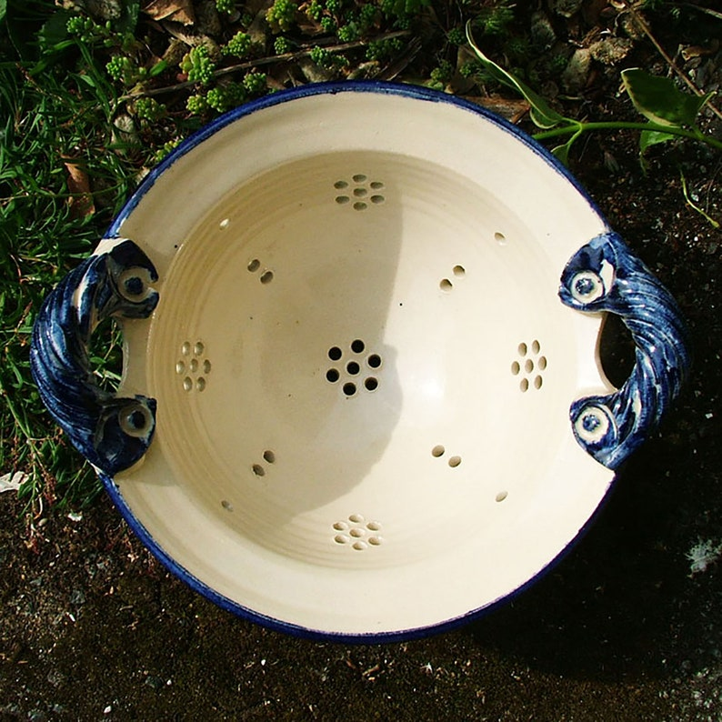 A hand-thrown pottery colander 8 inches image 0