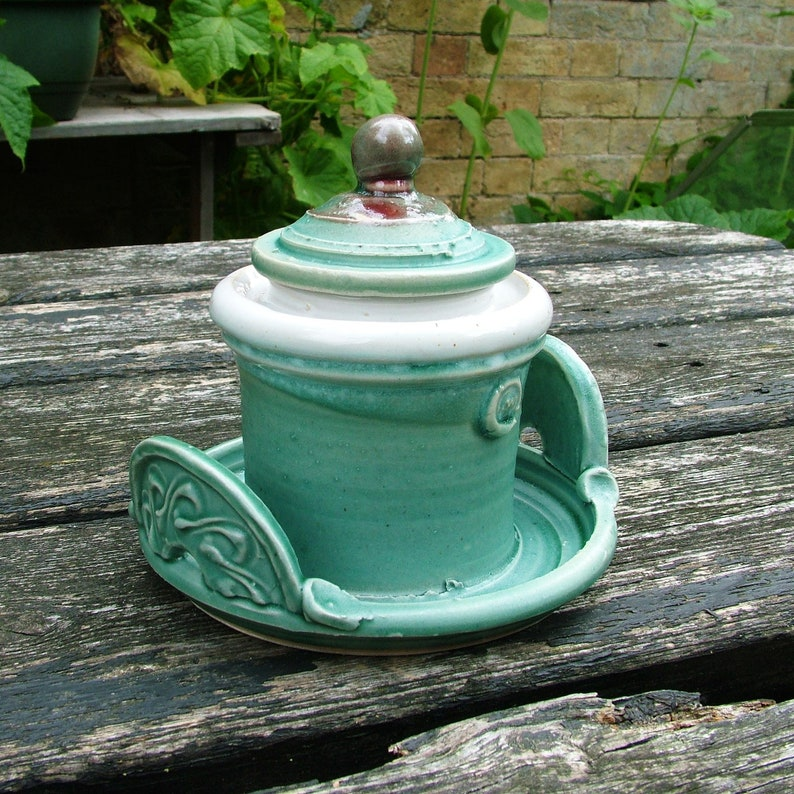 Thrown lidded jar with integrated tray image 0