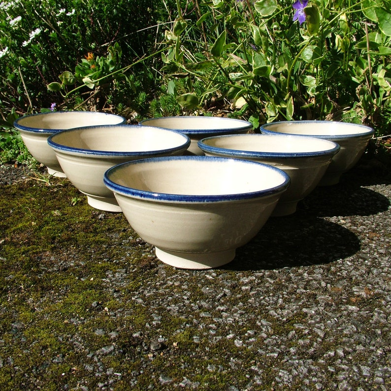 Thrown pottery cereal bowl set of 6 image 0