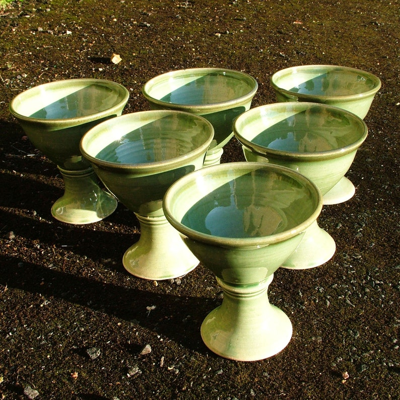 Set of 6 thrown pottery drinking goblets image 0
