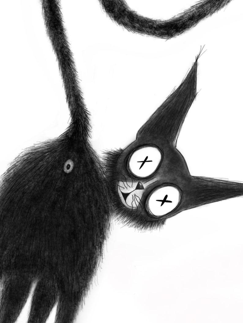 Gothic Pet Print Cat Wall Art Jasper the Black Cat 3 Goth Illustration Dark A4 Print Home Decor Fine Art Print Gothic,