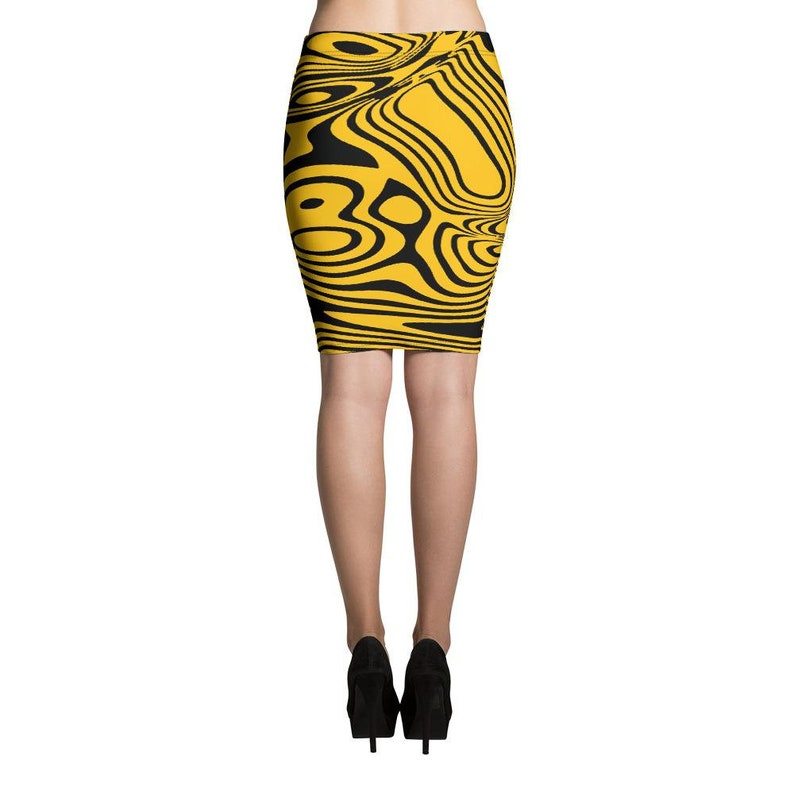 ThatXpression Fashion Fitness Black and Yellow Fitted Pencil Skirt