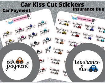 Car Insurance Car Payment Planner Stickers  // Planner Stickers // Car Stickers //  Insurance Due Planner  // Kawaii Planner Sticker //