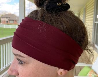 Smooth Thick Twisted Headband Maroon