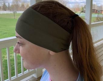 Dark Olive Headband, Headbands for Women, Wide Headband, Green Headband, Yoga Headband, Boho Headband, Wide Headband, Workout Headband