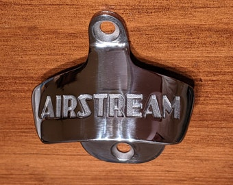 Polished Stainless Wall-Mounted Bottle Opener, Vintage Airstream Design