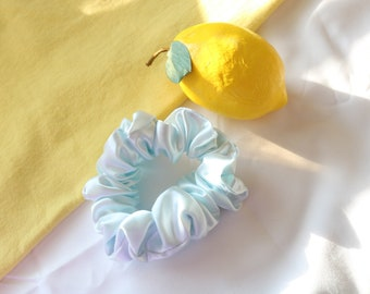 Blue Satin Scrunchie