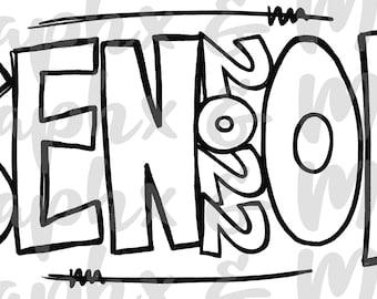 2022 Single Color Senior PNG | Hand Drawn | Sublimation Design