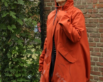 Women brick red soft shell hooded rain jacket for bike®, loose fit versatile elegant long trench coat windproof and waterproof
