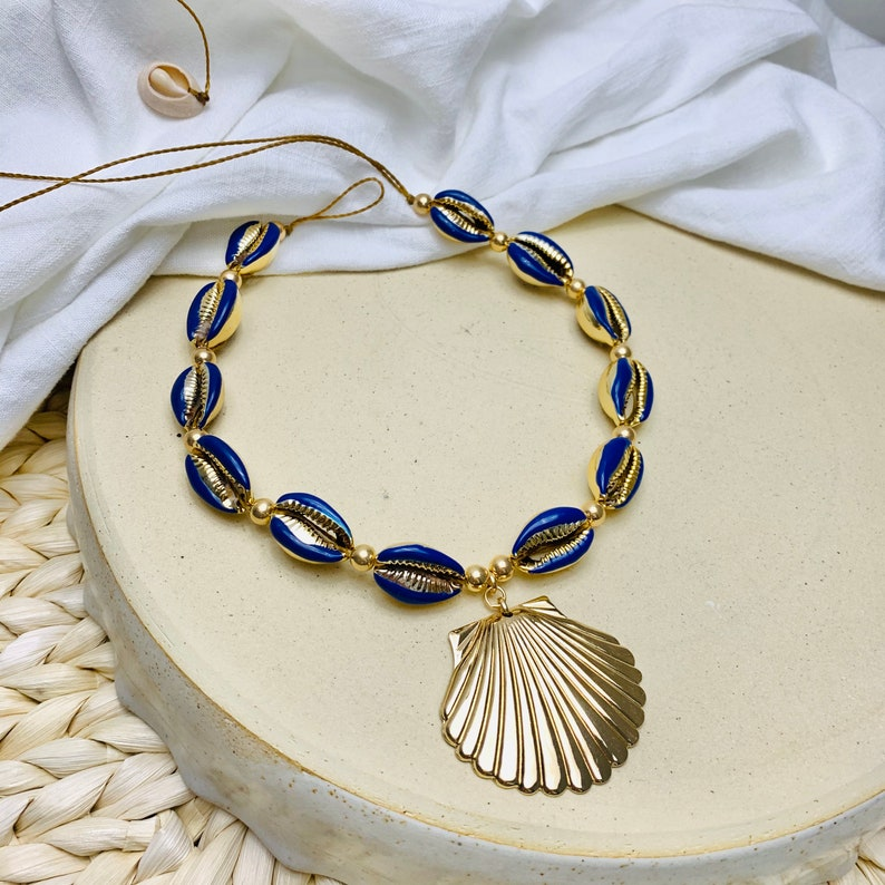 Scallop n Surfer Necklace Vsco girl choker necklace Shell Puka Shell Necklace Enamel cowrie shell necklace Corie Shell Choker