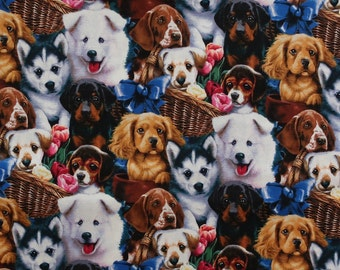 PUPPIES DOGS BREEDS REALISTIC OVERALL TAN BROWN COTTON FABRIC BTHY
