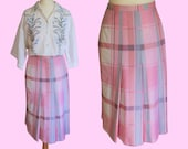 VINTAGE 1970's pink checkered skirt