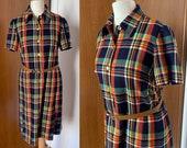 VINTAGE 1970's multicolor plaid dress, size S