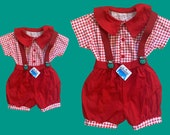 1980's VINTAGE  baby romper set - made in France -  Size 6 months old