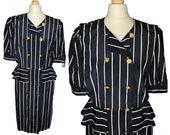 VINTAGE 80's striped blouse dress