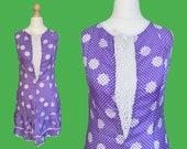 Authentic VINTAGE 1970's graphic printed dress, macramé neckline