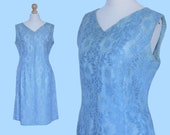 VINTAGE 1950's blue floral lace cocktail dress