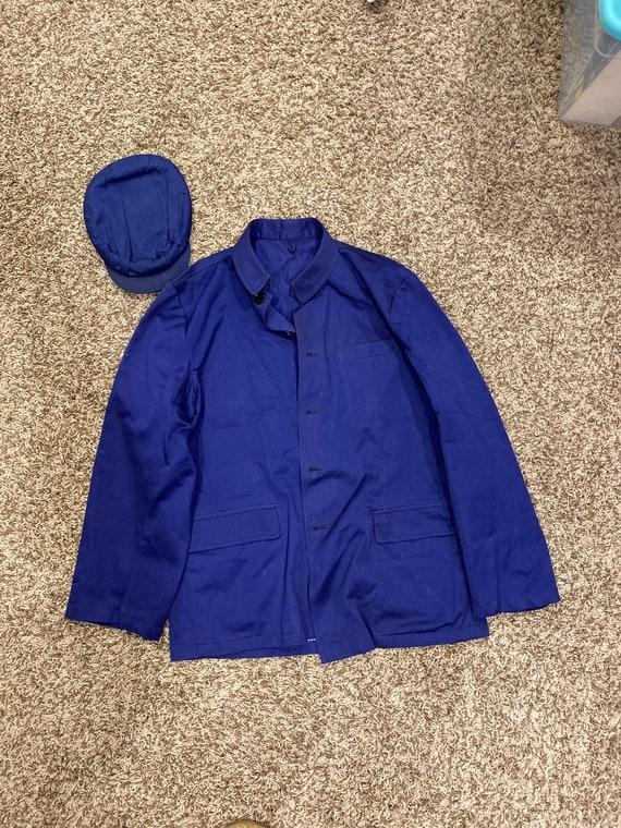 Authentic Vintage Chinese Blue Uniform Coat & Hat
