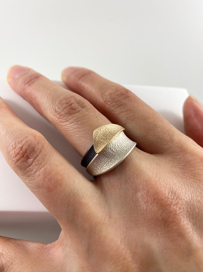 Comfortable Band |Signature ring Custom sizing TRI-COLOUR RING Oxididated Silver  |Waves Nature Instock 10K Sterling Silver