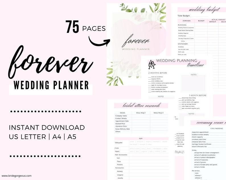 Printable Wedding Planner  DIY Printable Planner  Wedding image 0