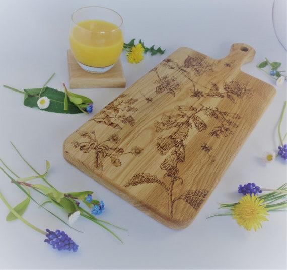 Wildflower Design | Oak Chopping / Display / Serving Board -  Gift | House Warming, Birthday Present, Gift for Gardener