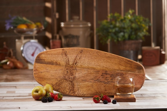 Hare / Rabbit Design | Hand-Decorated Mango Wood Chopping / Serving / Display Board - Gift | Animal Lover | House Warming Present