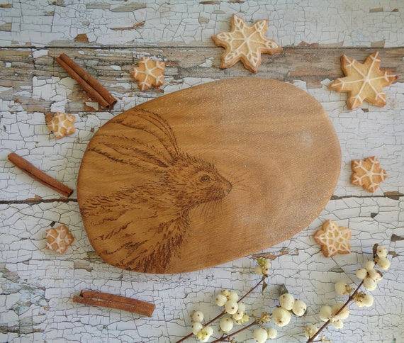 Hare Design | Hand Decorated Solid Oak Serving | Chopping | Display Board - Animal Lover, Birthday, House Warming Gift
