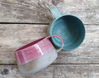 Artisan Pottery Coffee Mug Stoneware Ceramic Cafe au Lait Bowl Tea Cup  Handmade Coffee Lover Gift Her Breakfast Cereal Bowl